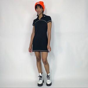 1990's Vintage Mod Collared T-Shirt Mini Dress